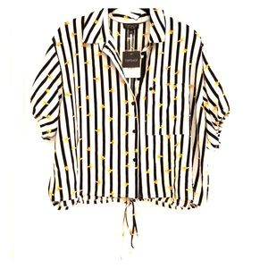 Topshop Stripe Button Up Top